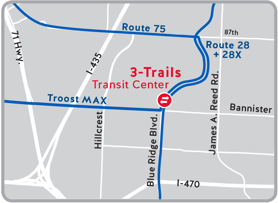 Map of transit center connections