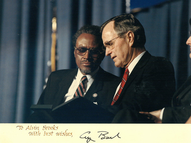 Alvin Brooks with President George H. W. Bush