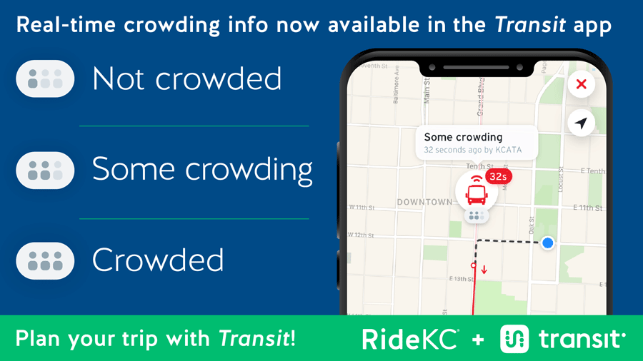 Example of crowding information shown in Transit App. Also includes the icons and words