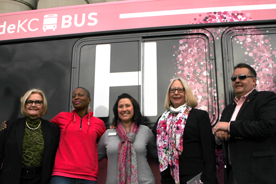 In front of the HOPE Breast Cancer Awareness Bus