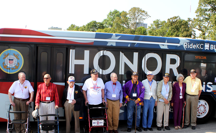 The 95th Infantry Division veterans with RideKC Honor Bus