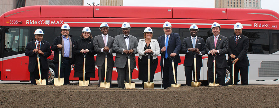Groundbreaking with FTA Administrator K. Jane Williams and Mayor Sly James.