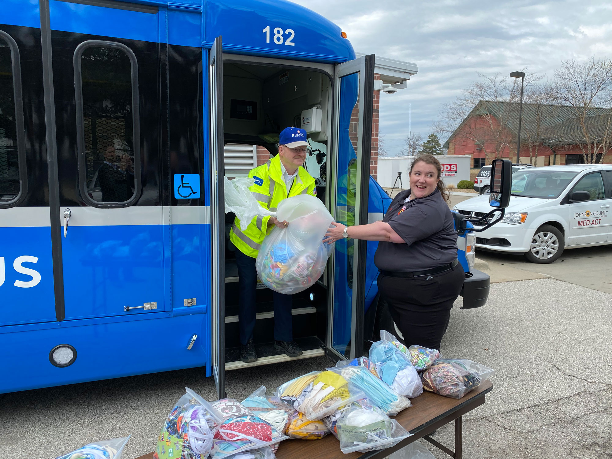Paul Waters delivers masks to MED-ACT in a RideKC bus.