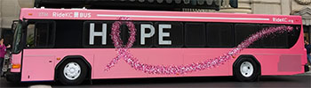 The KCATA's pink 'Hope' bus was introduced at Union Station last fall.