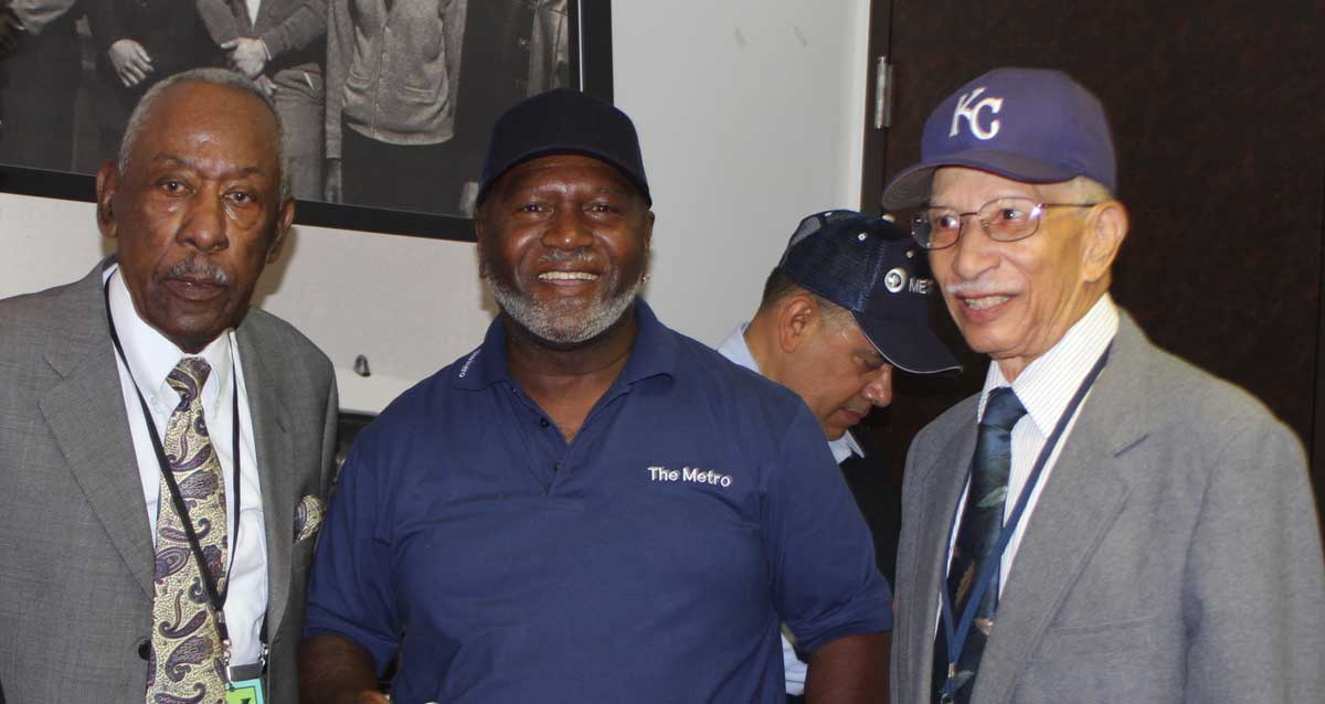 Ray Harris with KCATA bus operator and retiree at Harris' 90th birthday.