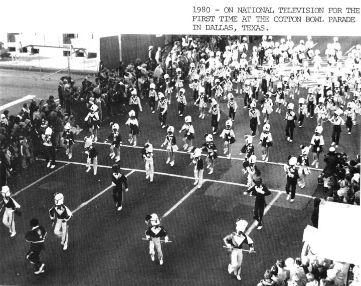 The Marching Cobras in their first televised performance, the 1980 Cotton Bowl Parade.