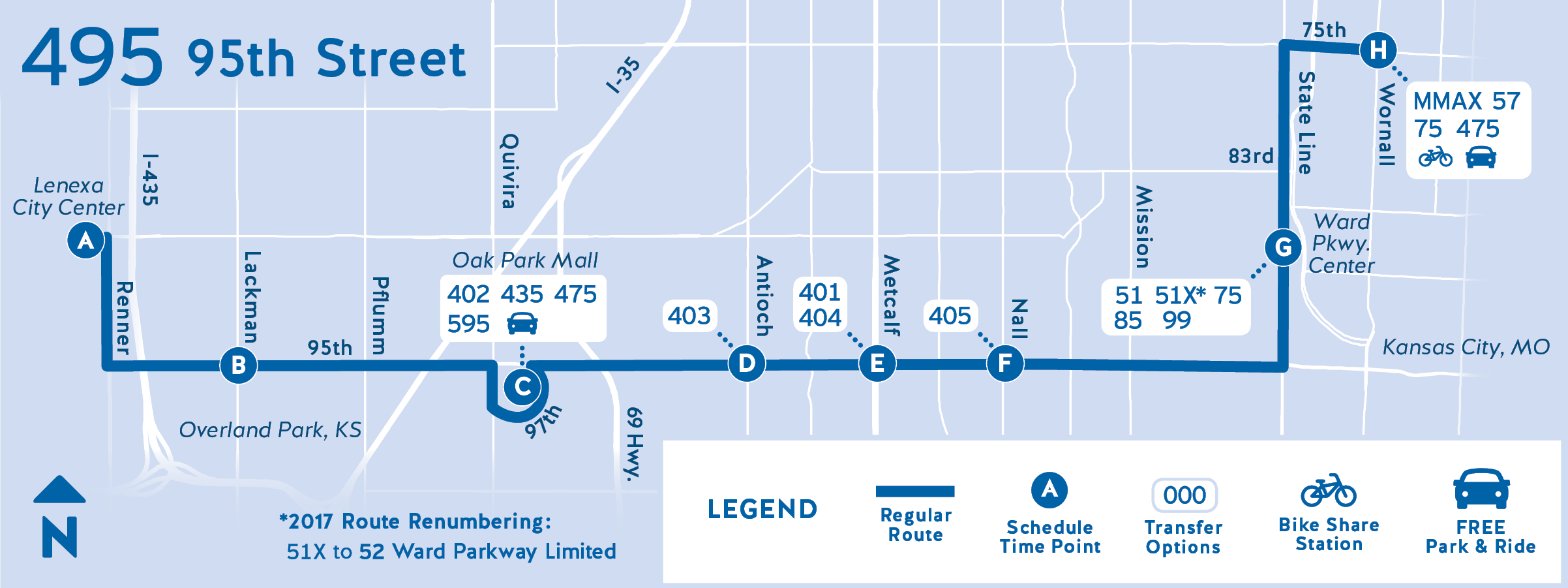 495 map with new service to Lenexa, Kansas
