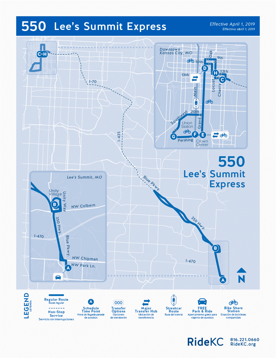 550 Lee's Summit Express route map