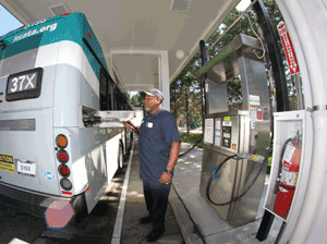 Fueling CNG bus