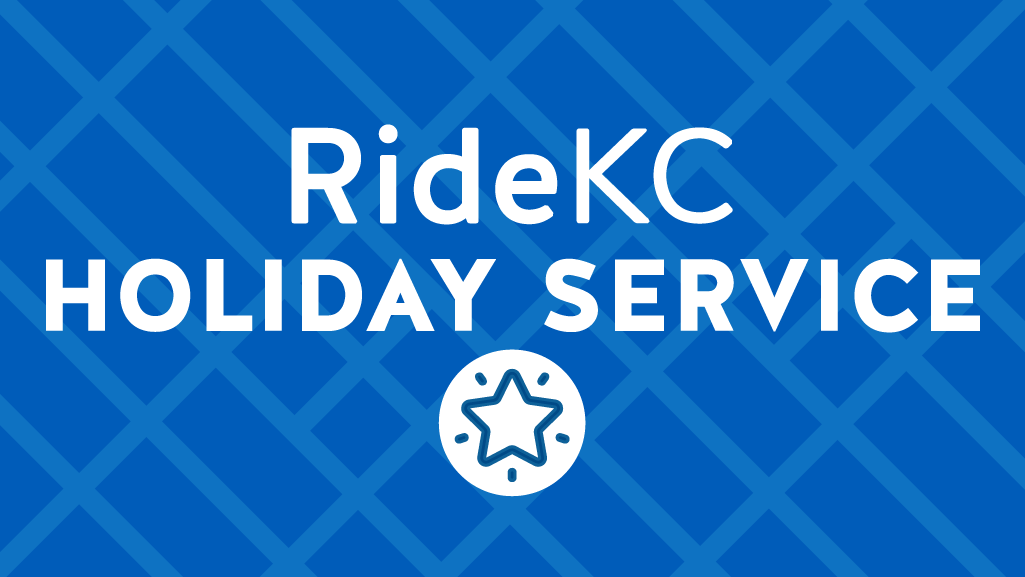 RideKC Holiday Service - White text on blue background