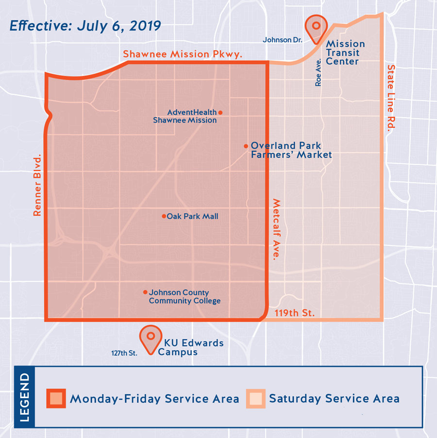 Map showing Micro Transit service area in Johnson County