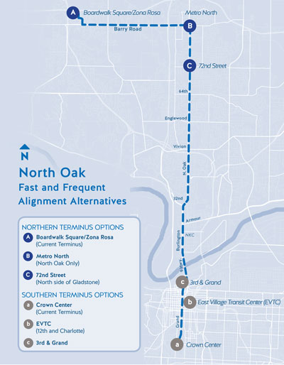 North Oak alignment alternatives map