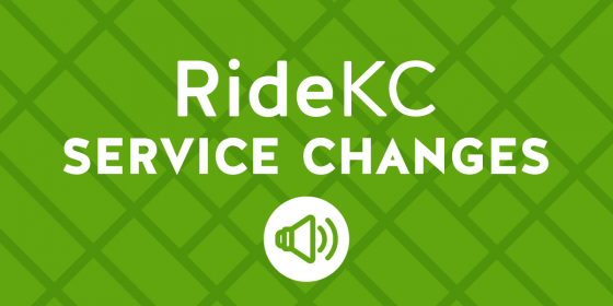 RideKC Service Changes. White text on green background.