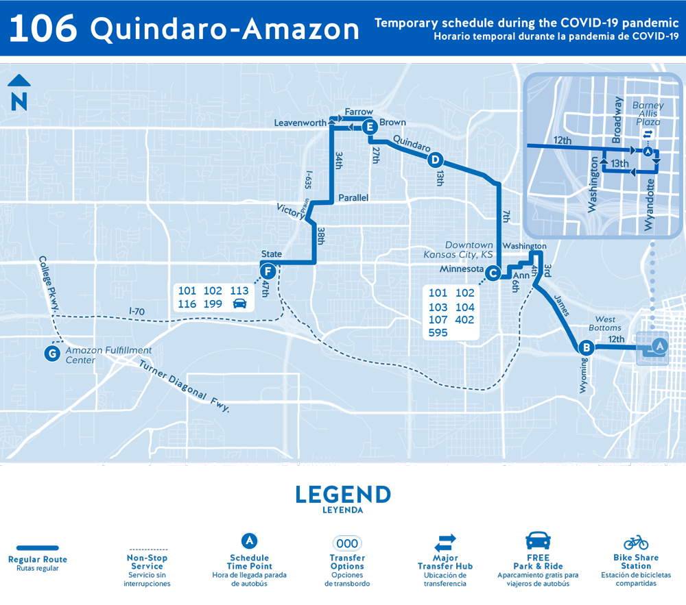 Map of 106 service in Kansas City, Kansas, including Amazon and Quindaro