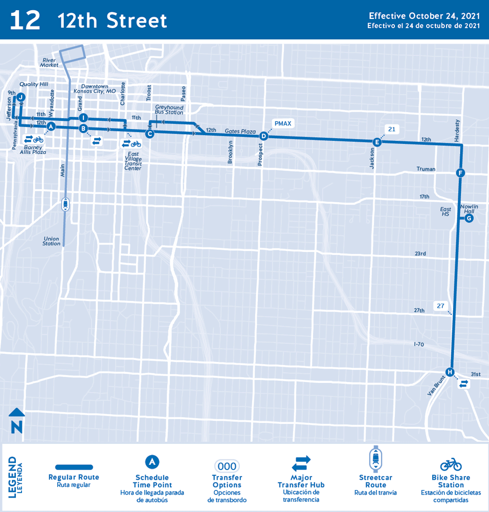 12th Street route map